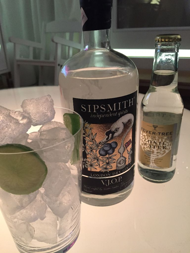 Sipsmith, Fever Tree, Limette